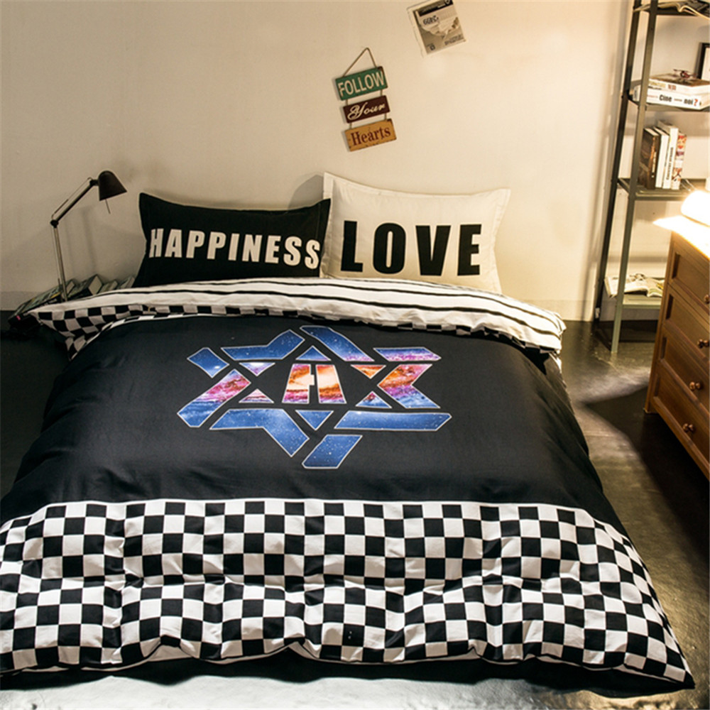 online get cheap cool boys bedding aliexpresscom  alibaba group - modern design super cool bedding sets kidsadult boys white and blackplaidsstripes quilt cover bed sheet pillowcase queenfull