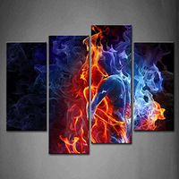 4Panel Wall Art Red Fire Hot Couple Kiss Each Other Blue Yellow Man And Woman 100