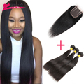Peruvian Virgin Hair Straight with Closure 3PCS Straight Human Hair with Closure Peruvian Virgin Hair with Closure Straight Hair