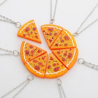 7 Pizza Set Best Friend Forever Necklace