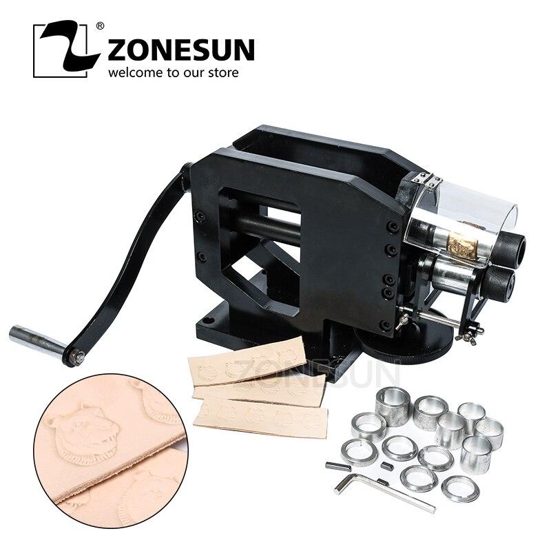 ZONESUN Machine à estamper le cuir Machine à presser à froid gaufrage motif à répétition pour ceinture en cuir sangles de guitare Logo Embosser