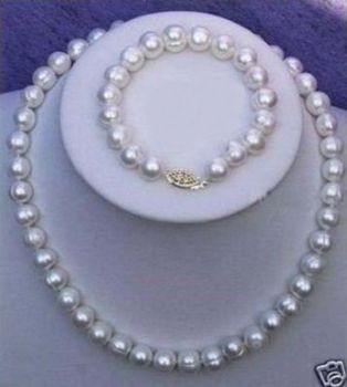 "huge11-10mm South Sea AAA+++White Baroque PEARL NECKLACE +bracelet7.5-8""925silver"