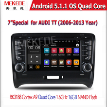 free shipping Android 5.1.1 Two Din 7 Inch In Dash Car DVD Player For A u d i/TT Quad Core 1.6GHZ 1024*600 GPS Wifi BT Radio