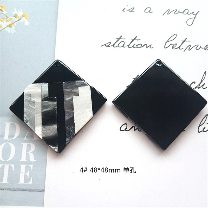 Round Square Fashion Unique 2pcslot Bright Acrylic Imitate Marble Texture Coin-shape Charms for EarringJewelry DIY ET52 (4)