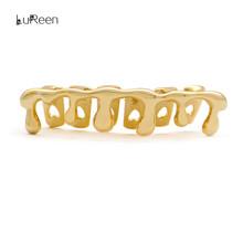 LuReen Custom Fit złote zęby Grillz hip hop zęby kapać Grille Dental Top amp Bottom Grill Cosplay ząb czapki Biżuteria party XHYT1044 tanie tanio Moda Body Jewelry Trendy Miedzi Metal Grillz Dental Grills Rysunek 3 5*1cm LD0108 copper 18k gold plated Hip Hop grillz