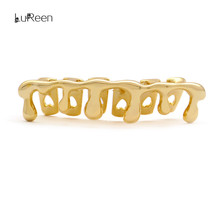 LuReen New Custom Fit Gold Teeth Grills  Hiphop Teeth Drip Grills Dental Top&Bottom Grills Tooth Caps Jewelry Party LD0108