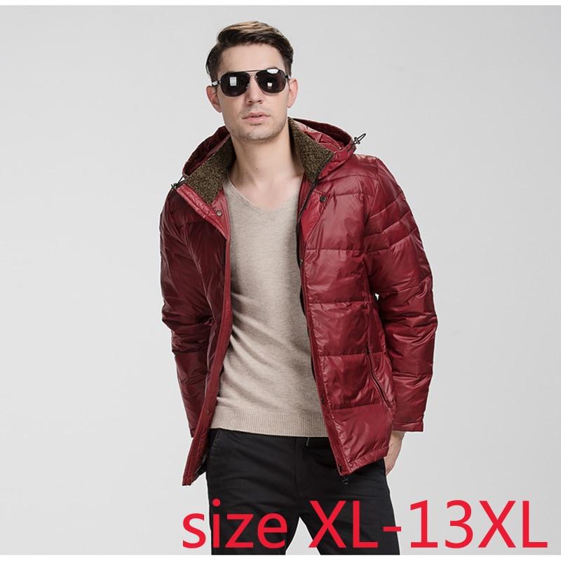 Mutter & Kinder Praktisch Warme Winter Mode Fettleibig Jacke Casual Zipper Kapuze Unten Mantel Männer Der Farbe Schwarz Plus Sizexl-4xl5xl6xl7xl8xl9xl10xl11xl12xl13xl