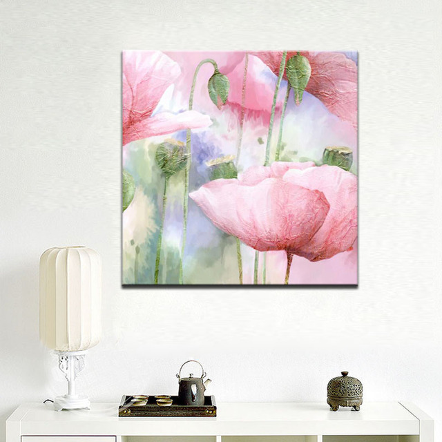 Abstract Watercolor Flowers Wall Art Colorful Hand Painting Poppy Print Poster On Canvas For Living