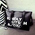 Fashion Letter Printing PU Leahter Reusable Shopping Bag Packet Black Color Women Handbag Big Women Shoulder Bag
