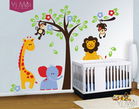 Elephant Lion Monkey Giraffe Cartoon Wall Stickers For Kids Room Animal Funny Children Vinyl Wallpaper