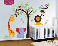 Elephant Lion Monkey Giraffe Cartoon Wall Stickers For Kids Room Animal Funny Children Vinyl Wallpaper