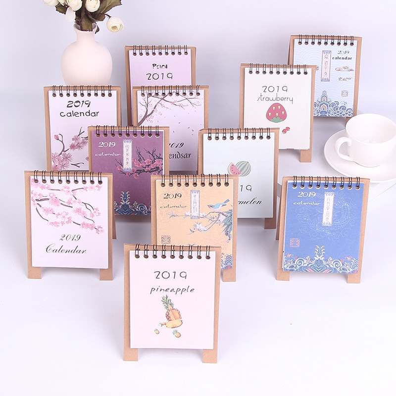 Lovely New 2019 Calendar Cartoon Characters Desktop Paper Calendar Dual Daily Scheduler Table Planner Yearly Agenda Organizer