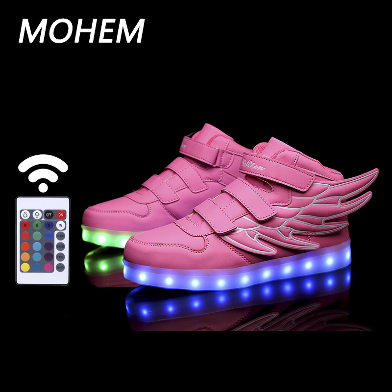 2017 <font><b>Wing</b></font> <font><b>LED</b></font> luminous for kids children casual shoes usb footwear boys &#038; girls glowing sneaker with 7 colors light up new 25-40