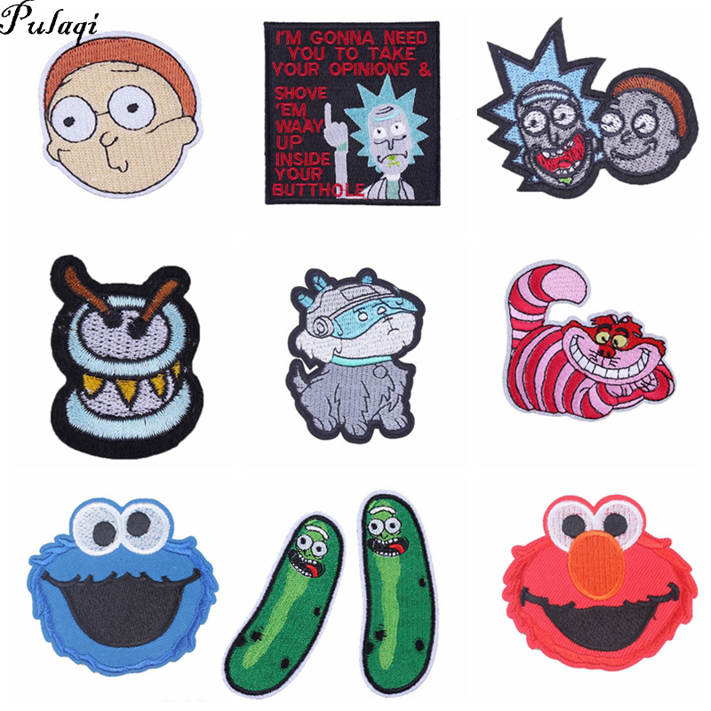 Pulaqi Rick And Morty Patches Diy For Clothes Kids Parches Bordados Para La Ropa Stripes On Clothes Sesame Street Patch F in Patches from Home Garden