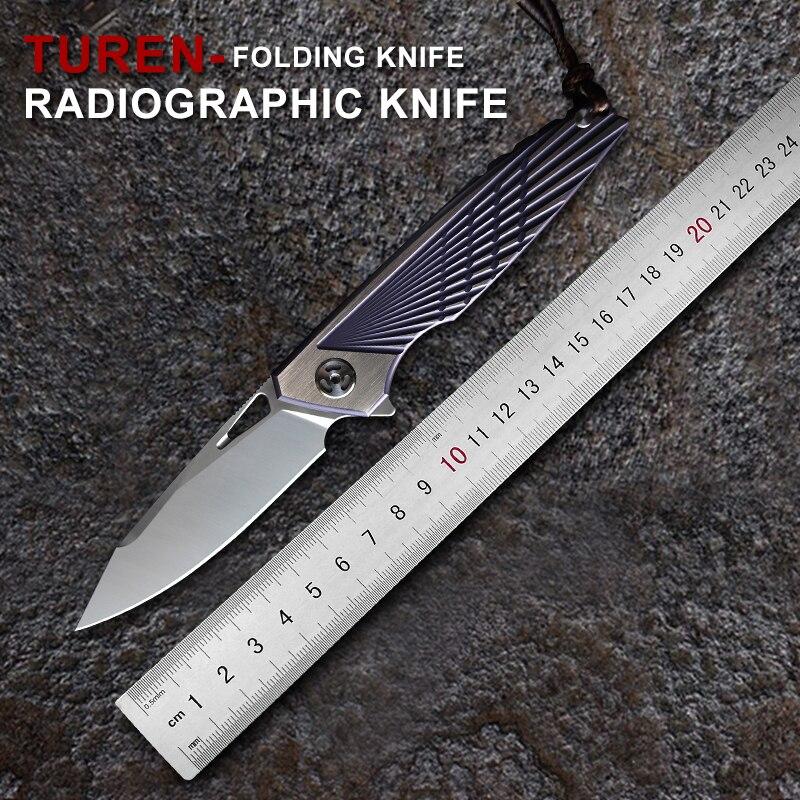 TUREN M390 Steel Blade Folding Knife TC4 Titanium Alloy Handle EDC Outdoor Survival Tools Hunting Camping