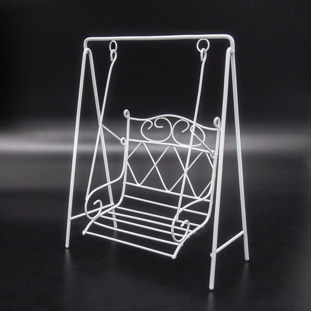 Odoria 1:12 Miniature White Metal Garden Porch Swing Chair Dollhouse  Furniture Accessories