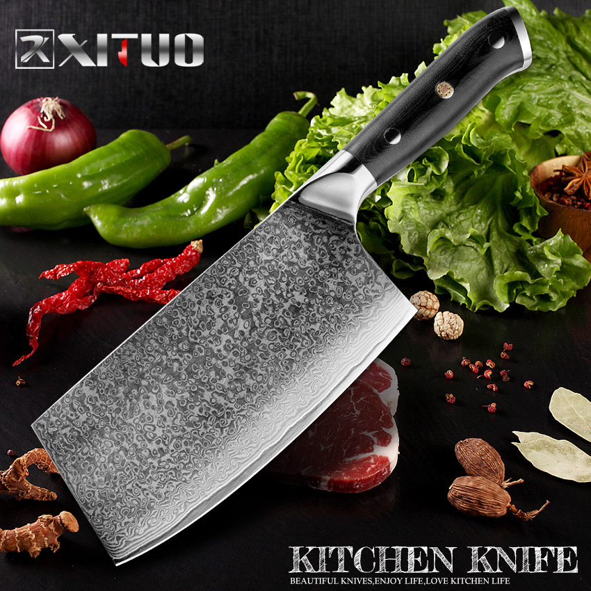 XITUO Damascus Steel Meat Cleaver Professional Kitchen Chef Knife 67 layer Japanese VG10 Damascus Steel Knife Sliced Vegetable K in Kitchen Knives from Home Garden