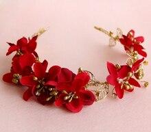 wedding romantic bohemian dark red fabric flower handmade hairband with beads bride  bridal vintage garland hair accessories