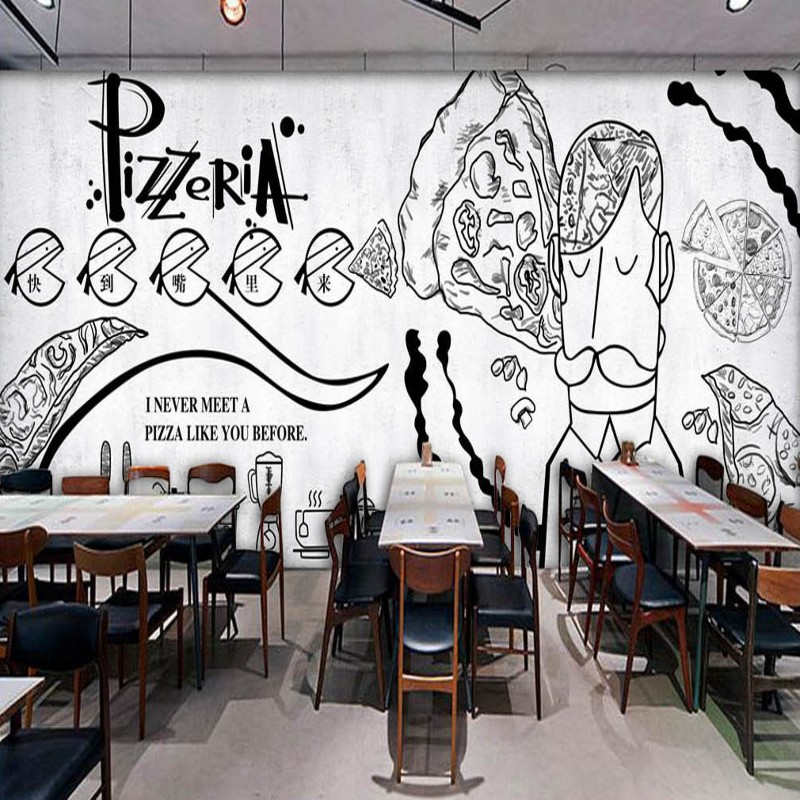Photo Wallpaper Hand Painted Black White Mural Pizza Shop