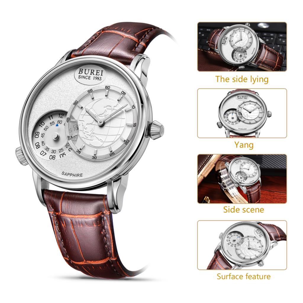 Буреи 5009 Швейцария часы Для мужчин люксовый бренд Для мужчин двойной путешествие во времени Бизнес Повседневное часы белый циферблат корич...