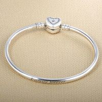 High Quality 925 sterling silver jewelry Europe and the United States popular new Women DIY pave CZ Heart shaped bracelet
