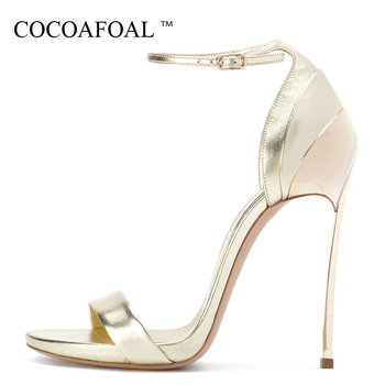 COCOAFOAL Woamn Fashion Heel Height Sandals Plus Size 33 43 Gladiator Bridal Shoes Party Golden Silver Sexy Wedding Sandals sandal