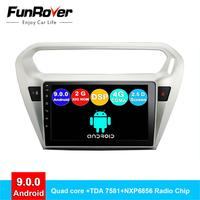 FUNROVER android 9.0 2.5D+IPS car dvd multimedia player For Peugeot 301 Citroen Elysee 2014 2016 radio gps navigation stereo RDS