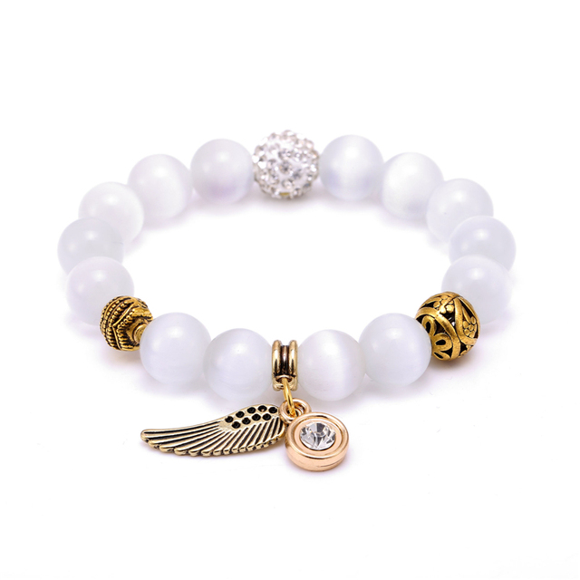 J 8 Colors Natural Stone Beads Bracelets Wing Owl Charm Bracelet For Women Men Jewelry