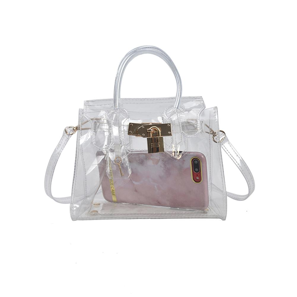 PVC Clear Jelly Bag Women Shoulder Bags Transparent Candy Color Lock Buckle Simple Crossbody Messenger Fashion Square Handbag