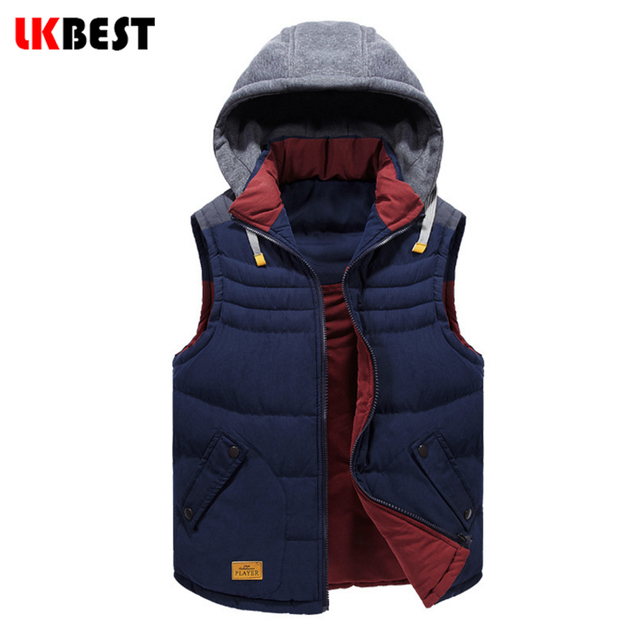 2017 New Mens vests Sleeveless down vest Winter Casual Coats Male Hooded Cotton-Padded Men's jacket Thickening Waistcoat (MJ08L)