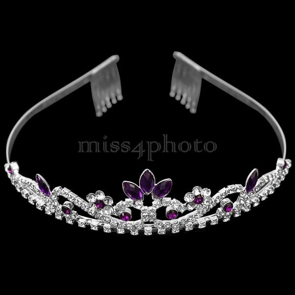 Purple Crystal Rhinestone Wedding Bridal Prom Party Headband Hair Tiara Jewelry