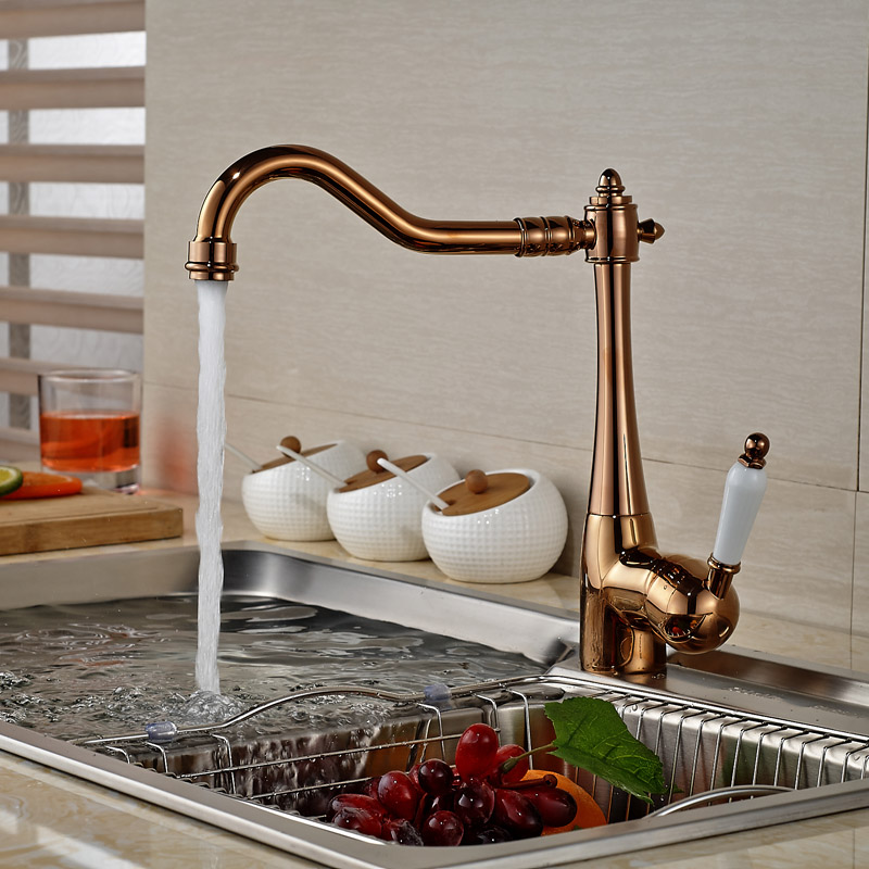 Luxury Rose Golden Deck Mount Kitchen Mixer Faucet Single Lever Hot Cold Kitchen Sink Taps