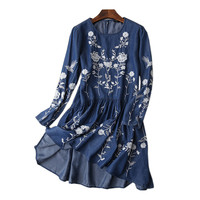 2017 New Fashion Summer Casual Denim Dresses Women Long Sleeve Vintage Ethnic Floral Embroidery Jeans Dress