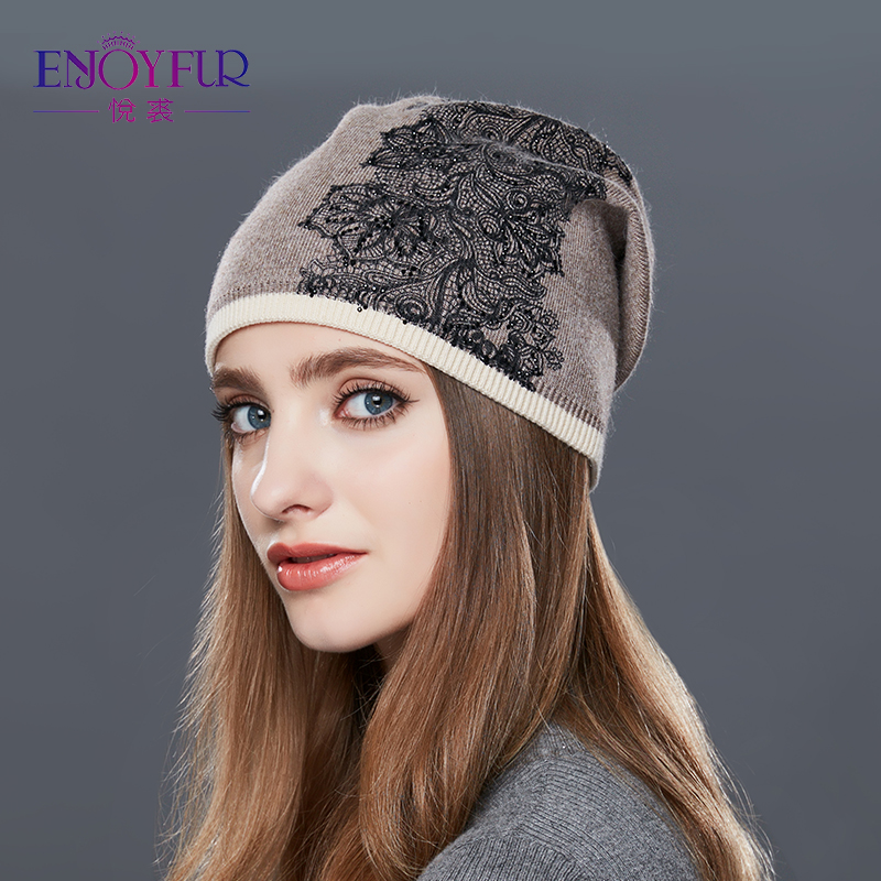 ENJOYFUR Knitted Wool Hat For Women Female Flowers Embroidery Thick Warm Winter Hats for Girls Good Quality Skullies Beanies Cap skullies new arrival warm winter female knitted hat hedging interior plus fluff lines thick line twist cap cute hat 1866934