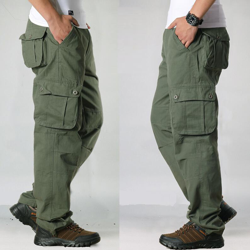 FALIZA Men's Cargo Pants Multi Pockets Military Style Tactical Pants Cotton Men's Outwear Straight Casual Trousers for Men CK102 36