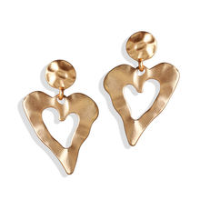 IF ME Fashion Gold Metal Earrings For Women Lover Vintage Irregular Geometric Heart Round Drop Dangle Earrings ZA 2019 Jewelry(China)