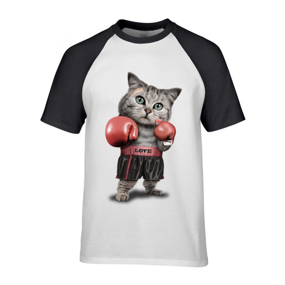 Mens Hipster Short Sleeve Cotton Short Sleeve Love CAT Boxer T-shirts Funny CAT Animal Mens Customized T Shirts Birthday Gift