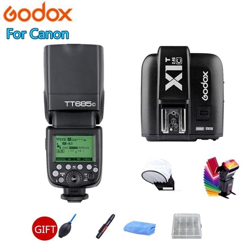 Godox TT685C TTL 1/8000s High Speed 2.4G Wireless Speedlite + X1T-C Transmitter for Canon EOS 70D 60D 5D2 5D3 6D 7D 650D 700D viltrox jy 680ch 1 8000s high speed sync hss ttl flash speedlite for canon dslr 760d 750d 700d 650d 80d 70d 60d 5dii 7d 6d 1300d