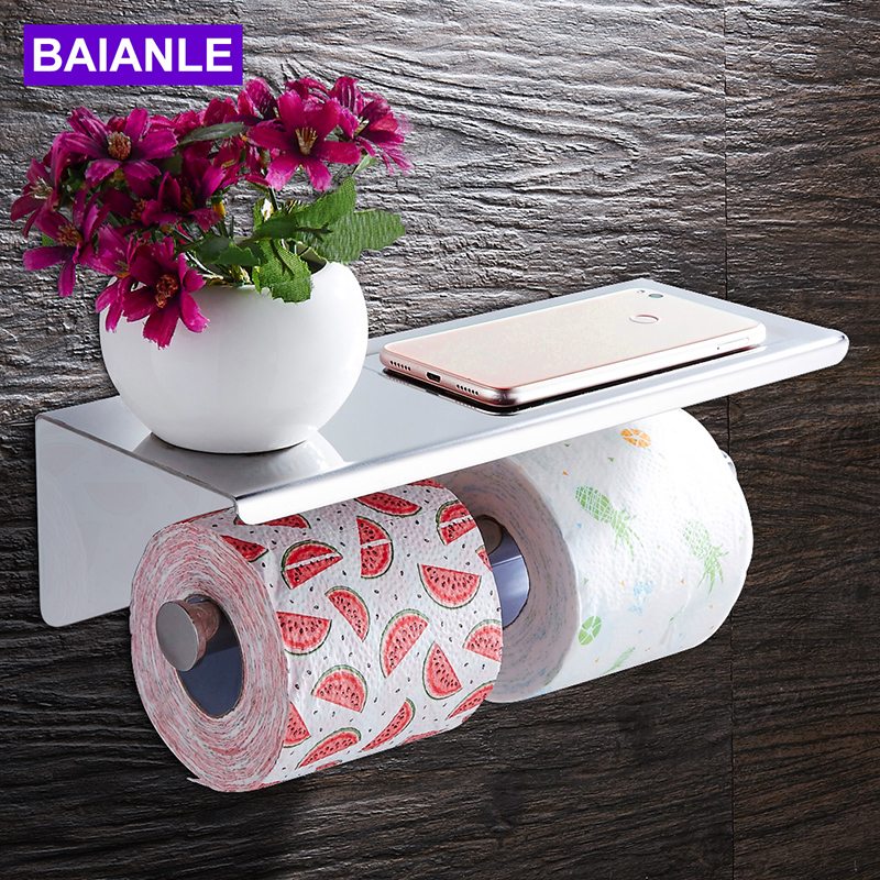 Bathroom Toilet Paper Holder with Shelf Stainless Steel Double Roll Paper Holder Wall Mounted Decorative Paper Towel Holder Rack 1pcs wall mounted stainless steel bathroom towel shelf holder adhesive force bathroom shelf pendant toilet roll paper hanging