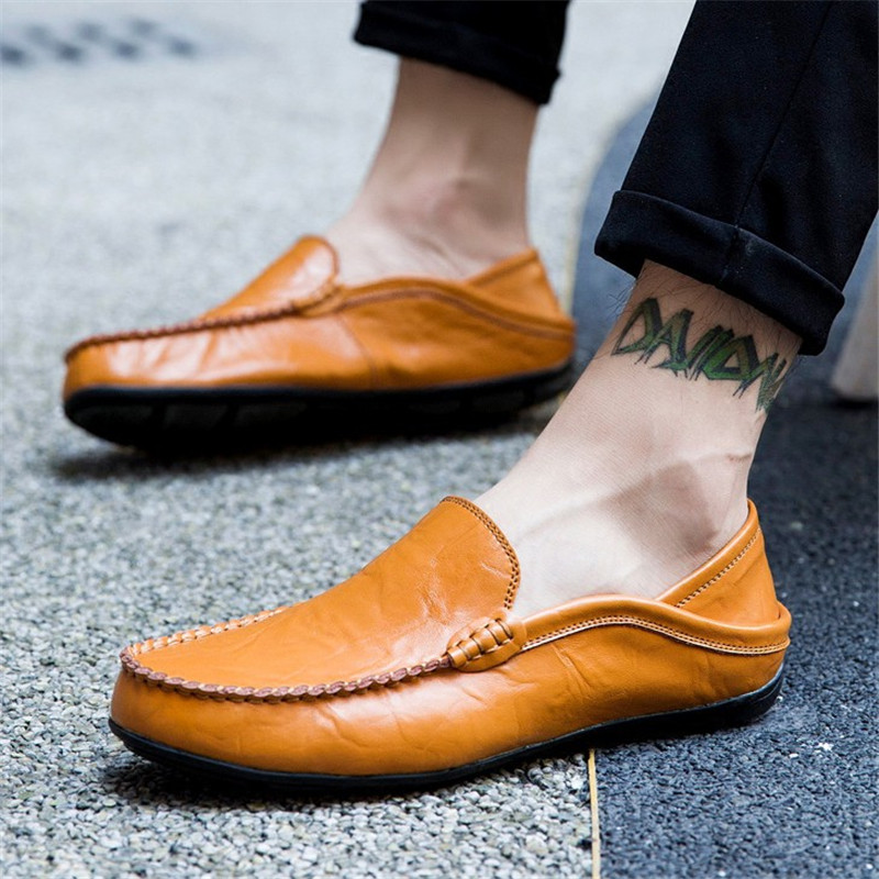 2019 Moccasins Men Loafers Quality Man Shoes Genuine Leather Peas Shoes Men Flats Walk Driving Moccasins Male Casual Shoes in Men 39 s Casual Shoes from Shoes