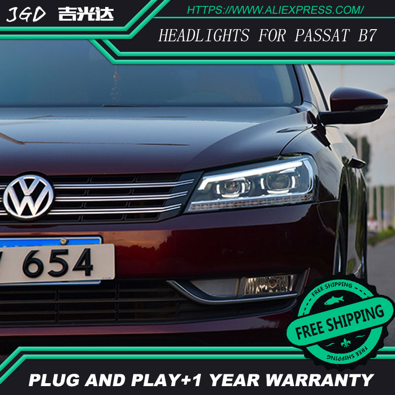 Free shipping ! Car styling LED HID Rio LED headlights Head Lamp case for VW passat b7 2011-2015 Bi-Xenon Lens low beam