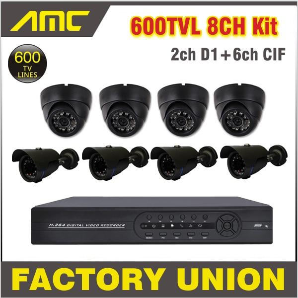 4pcs Dome Camera 4pcs IR Bullet Camera Outdoor Surveillance Camera Security CCTV System 4ch Channel CCTV