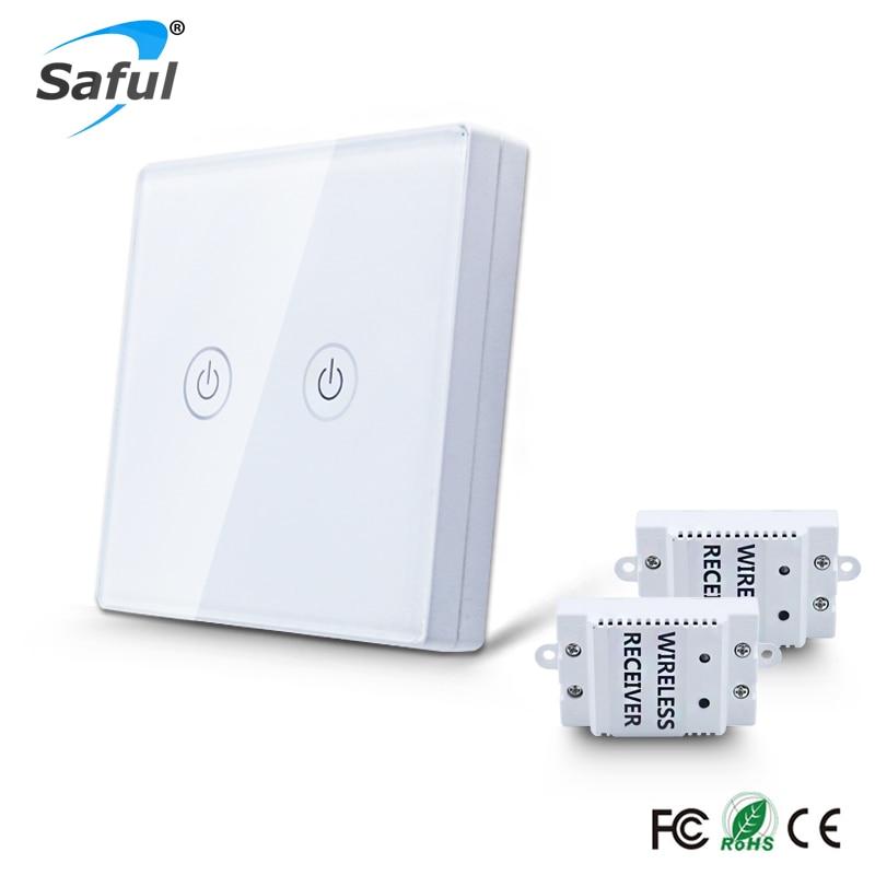Saful 2 Gangue de 2 Vias Interruptor de Toque Sem Fio 110 V-240 V com Poder de Controle Remoto para Luz de Parede Painel De Vidro Cristal temperado interruptor