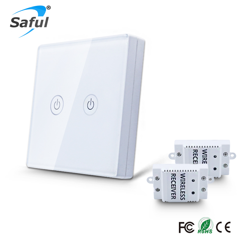 Saful 2 Gang 2 Way Switch Wireless Touch 110V-240V with Tempered Crystal Glass Panel Remote Control Power for Light Wall Switch k1rf ltech one way touch switch panel ac200 240v input can work with vk remote page 2