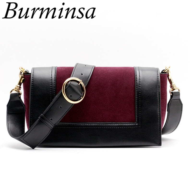 Burminsa Brand Suede Genuine Leather Bags Ladies Wide Strap Shoulder Bags Designer Clutch Hand Bags Crossbody Bags For Women