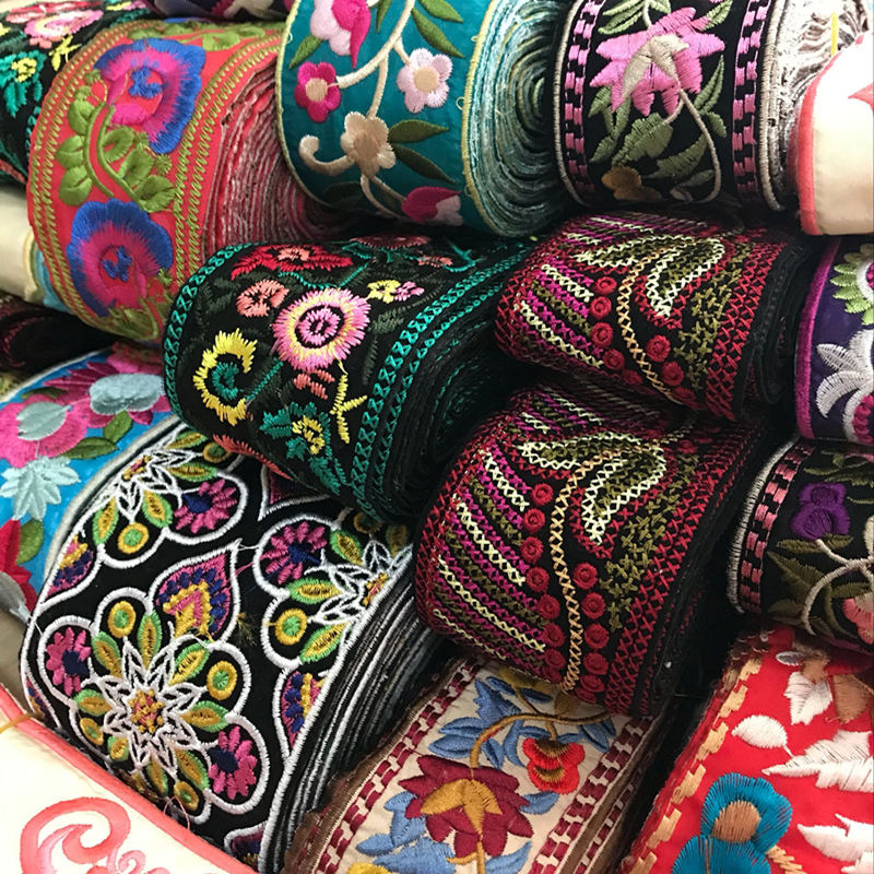 1 Yard Vintage Ethnic Embroidery Lace Ribbon Boho Lace Trim DIY Clothes Bag Accessories Embroidered Fabric
