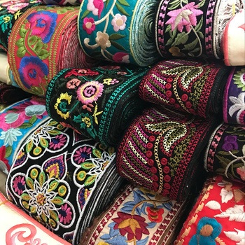 1 Yard Vintage Ethnic Embroidery Lace Ribbon Boho Lace Trim DIY Clothes Bag Accessories Embroidered Fabric embroidery