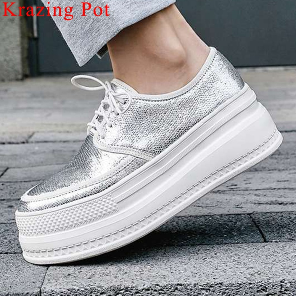 2019 Concise Style Sneakers Round Toe Lace Up Thick High Bottom Luxury Sheep Leather Waterproof Casual Wear Vulcanized Shoes L19
