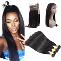 360 Lace Frontal Band With Bundles Brazilian Straight Virgin Hair 360 Lace Frontal Weave Human Hair 360 Lace Frontal With Bundle