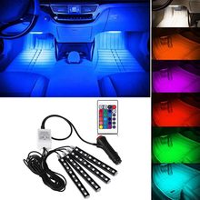 4pcs Colorful Interior 5050RGB Foot Atmosphere Foot Strip 16 Color Remote Control Waterproof Anti-collision Car Interior lights(China)